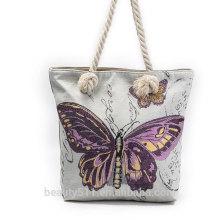 Moda de mariposa al por mayor no tejidas bolsa de las mujeres bolso de tela de tela de cordón lienzo CB06