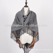 châle en laine tricoté triangle femme