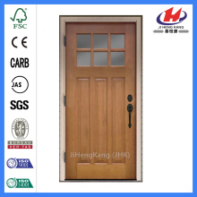 Jhk-G32-4 Alder Wood 3 Panel 6 Lite Simulated Divided Lites And Double Glue Chip Glass Wood Door