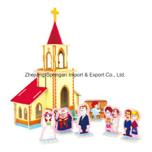 Wood Collectibles Toy pour DIY Houses-Wedding Chapel