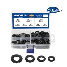 500PCS Black Carbon Steel M2 M2.5 M3 M4 M5 M6 M8 M10 Washer Kit Flat Washer
