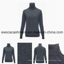 Suéter de cachemir puro de manga larga con cuello tortuga y manga larga para mujeres