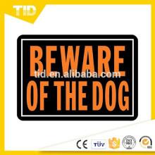 """10 """"x 14"""" aluminio cuidado con el perro signo Hy-Glo naranja y negro"""