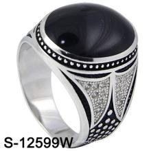 925 prata esterlina Mirco definir homens anel com ágata (s-12599w)