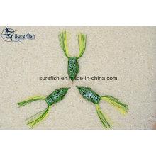 Señuelos de pesca 3D ojo suave cuerpo hueco plástico rana