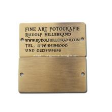 Plaque signalétique en laiton en métal personnalisé