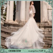Vestido de casamento assimétrico com design especial com manta de cauda da sereia