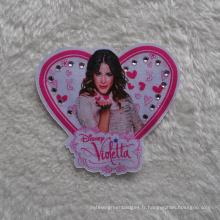 Conception de coeur avec Shine Diamond Pringting Pacth pour vêtements en tissu