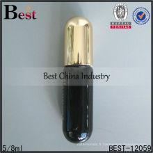 Rouleau en verre noir de 8ml sur la bouteille avec le fond rond, bouteille en verre de tube avec le chapeau d'or, bouteille en verre de tube de parfum fournisseur