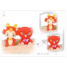 Brinquedo de pelúcia de fuwa festivo vermelho brilhante
