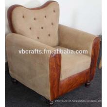 Sofá de couro com fusão de lona