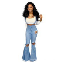Trending Stylish Fall Autumn Fashion Sexy Ripped Overalls Womens Jean Plus Size Flared High Waist Pants