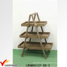 Portable Anticuario Pantalla de madera sólida de 3 niveles
