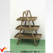 Portable Antique Display sólida 3 camadas de madeira prateleira