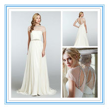 Vintage Short Sleeve Chiffon Crystal A-line Muslim Wedding Dress 2012(WDJL-1014)