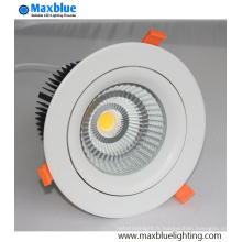 Meilleur prix encastré Triac Dimmable COB LED Down Light Downlight
