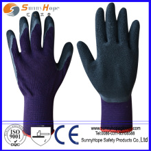 Crinkle finish Latex coated black cotton knitted safety gloves