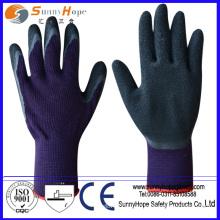 Червячные защитные перчатки с покрытием из латекса с черным хлопком