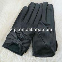 Women's winter bow styles ethiopian leather dress glove