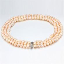 Snh Peach Color Hot Sale 925 Collier en perles d'argent pour femmes