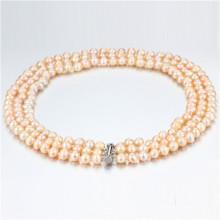 Snh Peach Color Hot Sale 925 Colar de pérolas de prata para mulheres