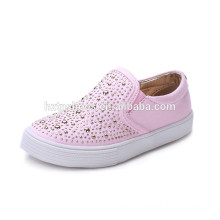 2016 New spring kids slip on canvas shoes child skate shoes girls pinky injection shoes with rivet studs factory price wholesale