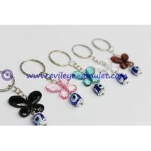 Glittering and translucent  butterfly evil eye key chain factory wholesale
