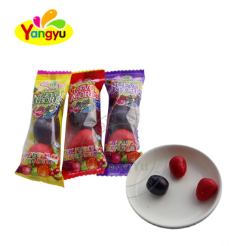 3 pcs roll bubble gum with fruity flavor packed in bag