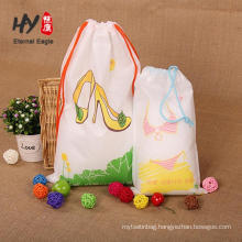 high square weight white ground color print non woven drawstring bag