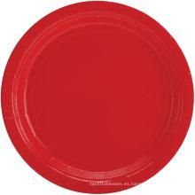 Plato de partido de la mala hierba Platos de la cena de papel Placas de color multicolor rojo / azul