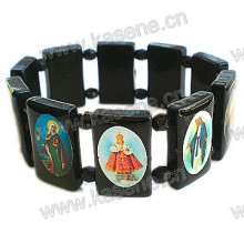 Handmade Black Plastic with Christian Picture Rosary Bracelet