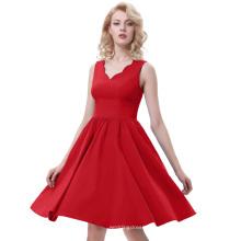 Белль некоторые из них имеют рукавов V-образным вырезом высокой эластичной трапеция винтажный Красный женщин цельный повседневные платья BP000269-3