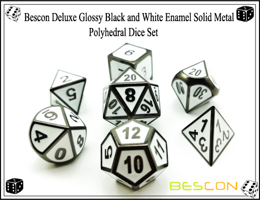 Bescon Deluxe Glossy Black and White Enamel Solid Metal Polyhedral Role Playing RPG Game Dice Set (7 Die in Pack)-8