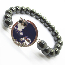 Pulsera Hematite 8MM Round Beads Stretch Gemstone con Diamante aleación Oveja Pieza
