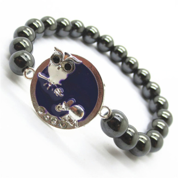 Hematite 8MM Round Beads Stretch Gemstone Bracelet with Diamante alloy Sheep Piece