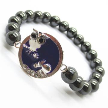 Hematite 8MM Perles rondes Stretch Bracelet de pierres précieuses avec alliage de Diamante Morceau de mouton