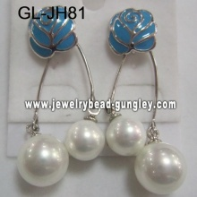 blue flower women shell pearl earrings