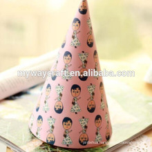 DIY paper party hat interesting girl printed paper happy birthday party hat