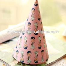 DIY papel festa chapéu interessantes menina impresso papel feliz aniversario festa chapéu