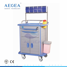 Storage box at top hospital mobile ABS material anaesthesia cart with drawer