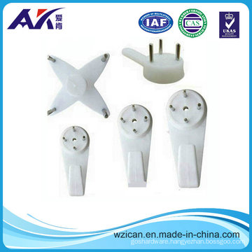 White Color ABS Hardwall Plastic Hook with Nail
