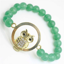 Green Aventurine Gemstone Bracelet with Diamante owl alloy Piece