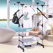 Edelstahl-Doppel-Rod-rollendes Kleiderständer-Kleidungs-trocknendes hängendes Kleidungs-Gestell