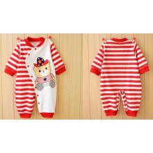 Eco-Friendly Infant Striped Romper with Cute Animal Printing & Embroidery