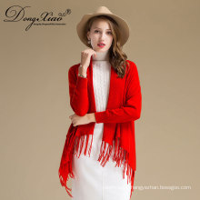 Women's Cardigan Scarf Style Pure Color Design Wool And Cashmere Blended Material Sweater