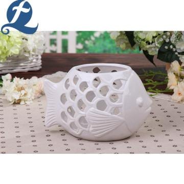 Artistic Three-Dimensional Hollow Stone Ware Fish Shape Flower Pot
