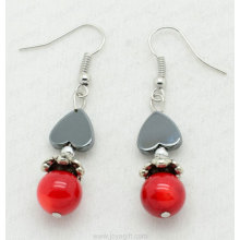 Red Coral Heart Beads hematite earring