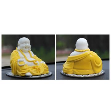 الراتنج سعيد الذهب الغبار محظوظ بوذا تمثال فنغشوي الحرف