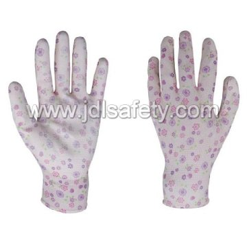 Printed Polyester Work Glove with PU Palm Coated (PN8014)