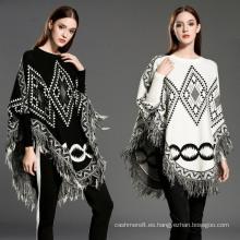 Cárdigan para mujer envuelve suéter de punto de invierno con flecos de cable Poncho de suéter (SP618)